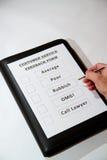 Śmieszny obsługi klienta informacje zwrotne dokument Zdjęcie Royalty Free