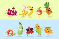 Śmieszny owoc i warzywo - set wektorowe postać z kreskówki ilustracje royalty ilustracja