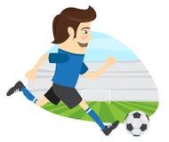 Śmieszny piłka nożna gracz futbolu jest ubranym błękitnej koszulki działającego kickin Zdjęcia Stock