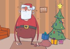 Śmieszny pijący Święty Mikołaj z torbą w pokoju z decoreted choinką i kolorowymi teraźniejszość Zmizerowany szczęśliwy Santa Fotografia Royalty Free