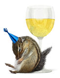 Śmieszny pijący chipmunk, świętuje pojęcie Obrazy Royalty Free