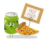 Śmieszny pizza plasterek i sodowanej puszki postać z kreskówki Zdjęcie Stock