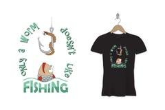 Śmieszny połów koszulki druk lub majcheru projekt rabatowy bobek opuszczać dębowego faborków szablonu wektor Obrazy Royalty Free