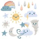 Śmieszny pogodowy wektoru set ilustracji