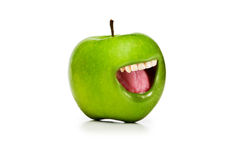 Śmieszny pojęcie z jabłkiem i usta Obraz Royalty Free