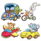 Śmieszny pojazdu i zwierzęcia set ilustracja wektor