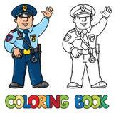 Śmieszny policjant książkowa kolorowa kolorystyki grafiki ilustracja ilustracji