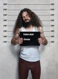 Śmieszny portret chuderlawa przestępca zdjęcia stock