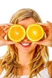 Śmieszny portret z pomarańczami obraz royalty free