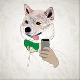 Śmieszny psi pokazuje jęzoru i brać selfie Royalty Ilustracja