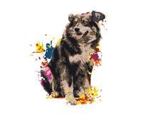 Śmieszny psi radosny, farb plamy royalty ilustracja