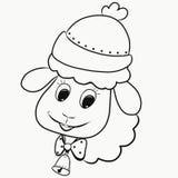 Śmieszny puszysty baranek w kapeluszu z dzwonem na szyi i ilustracji