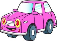 Śmieszny różowy kreskówka samochód royalty ilustracja