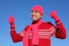 śmieszny rękawiczek mężczyzna czerwieni szalik Obraz Stock