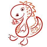 Śmieszny radosny dinosaur w sercach z motylem w swój łapie, royalty ilustracja