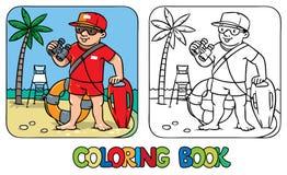 Śmieszny ratownik książkowa kolorowa kolorystyki grafiki ilustracja ilustracji