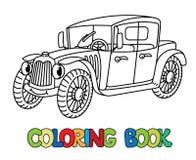Śmieszny retro samochód z oczami książkowa kolorowa kolorystyki grafiki ilustracja ilustracja wektor