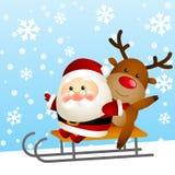 Śmieszny Santa i rogacz ilustracja wektor