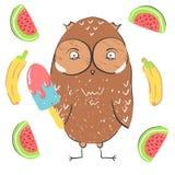 Śmieszny sowy łasowania lody z bananem i arbuzem Ilustracja o zwierzętach ptasich dla dziecko projekta kreskówka royalty ilustracja