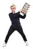 Śmieszny szachowy gracz odizolowywający Obrazy Royalty Free