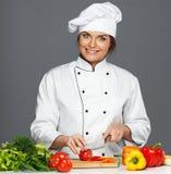 Śmieszny szalenie kobieta kucharz Fotografia Royalty Free