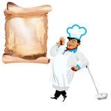 Śmieszny szczęśliwy szef kuchni i menu Obrazy Stock