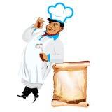 Śmieszny szczęśliwy szef kuchni i menu Zdjęcia Royalty Free