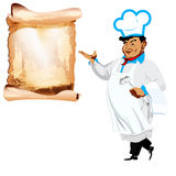 Śmieszny szczęśliwy szef kuchni i menu Fotografia Stock