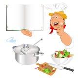 Śmieszny szczęśliwy szef kuchni i menu ilustracja wektor