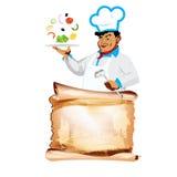 Śmieszny szczęśliwy szefa kuchni i jarosza warzywa menu Obraz Royalty Free