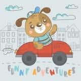Śmieszny szczeniak na samochodzie ilustracja wektor