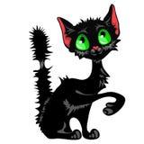 Śmieszny szczwany czarny kot z zielonymi oczami i parszywym ogonem odizolowywającymi na białym tle Śliczni bezdomni zwierzęta Wek royalty ilustracja