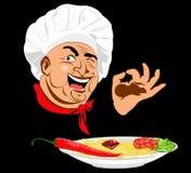 Śmieszny szef kuchni i tradycyjny Włoski spaghetti royalty ilustracja