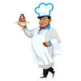 Śmieszny szef kuchni z słodkim deserem ilustracji