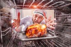 Śmieszny szef kuchni zdumiony i gniewny Nieudacznik jest przeznaczeniem! obrazy stock