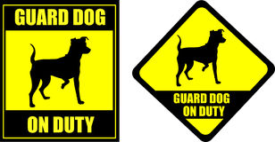 Śmieszny szyldowy strażowy pies na obowiązku royalty ilustracja