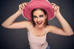 Śmieszny twarzy zakończenie w górę portreta kobieta Zdjęcie Royalty Free