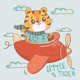 Śmieszny tygrys na samolocie w niebie royalty ilustracja