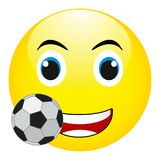 Śmieszny uśmiech z piłki nożnej piłką Wektor, Odizolowywający Na Białym tle Zdjęcie Royalty Free