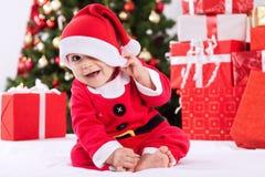 Śmieszny uśmiechnięty dziecko Santa Claus Obrazy Stock