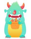 Śmieszny uśmiechnięty Halloweenowy puszysty potwora charakter Zdjęcie Stock