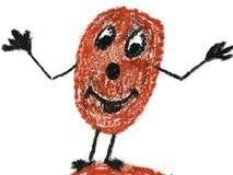 Śmieszny Uśmiechnięty Kartoflany Jarzynowy charakter Rysujący Z kredkami royalty ilustracja