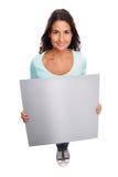 Śmieszny Uśmiechnięty nowożytny Opróżnia Szyldowej kobiety Fotografia Stock