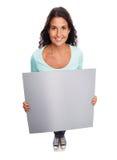 Śmieszny Uśmiechnięty nowożytny Opróżnia Szyldowej kobiety Fotografia Royalty Free