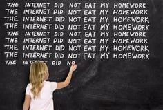 Śmieszny uczeń, edukacja, praca domowa, Uczy zdjęcie stock