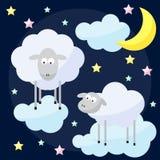 Śmieszny wektorowy tło z księżyc, chmurami, gwiazdami i nią kreskówki, Obraz Royalty Free