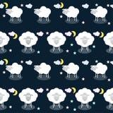 Śmieszny wektoru wzoru tło z chmurami, gwiazdami i ślicznym shee, Zdjęcie Stock