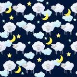 Śmieszny wektoru wzoru tło z chmurami, gwiazdami, księżyc i cięciem, Fotografia Royalty Free