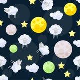 Śmieszny wektoru wzoru tło z chmurami, gwiazdy, jaskrawy samolot Obraz Stock