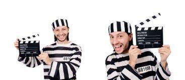 Śmieszny więźniarski więzień z film deską odizolowywającą na bielu Fotografia Royalty Free